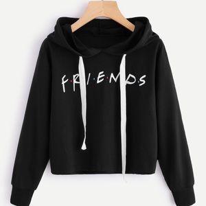 NWOT FRIENDS Black Cropped Hoodie ✨
